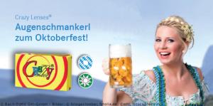 Oktoberfest Kontaktlinsen Frau mit Bier